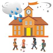 台風でも授業中のイメージ画像